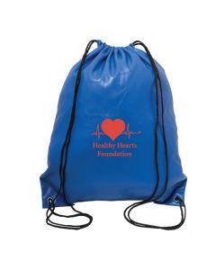 royal blue drawstring knapsack with red logo