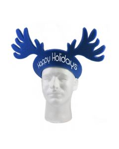 An angled view of a navy foam reindeer shaped pullover visor hat with a white logo on the front. The item is being worn by a mannequin head
