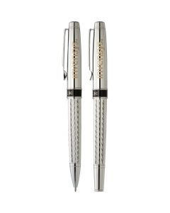 two silver pens one showing ballpoint and both with light gold logos