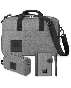 grey travel gift set showing accessory case a pen and passport holder