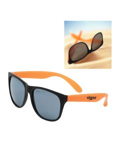 black and orange soft-tone sunglasses with black logo on the arm and a lifestyle shot in the top right corner
