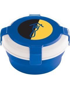A blue and white round collapsible silicone lunch container with a full colour logo on the lid