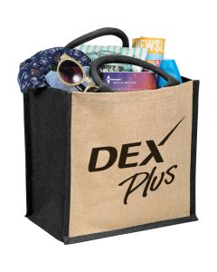 A light brown medium jute gift tote with black side panels, trim and handles a black logo and filled with goods