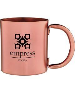 A copper 14oz mug with a black logo