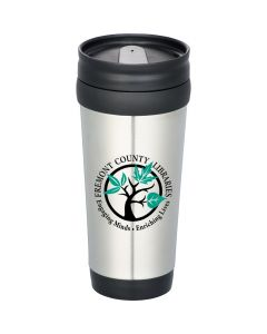 A silver stainless steel 14oz tumbler wtih black accents and a black and green logo