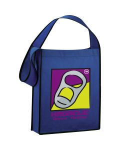 royal blue one strap tote with full colour logo