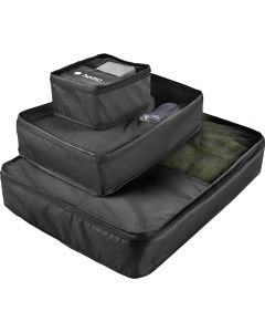 Three black packing cubes stacked on one another so the smallest is at the top with the smallest displaying a white logo