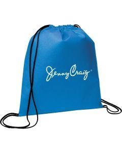 blue drawstring backpack with white logo