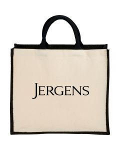A jute and cotton shopper tote with black handles and a black logo. The tote has black trim that is threaded with metallic accent thread