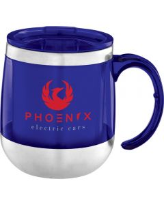 A blue and silver doubled walled 14oz double walled acrylic and stainless steel mug with a red logo