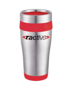 A stainless steel 16oz travel tumbler with red accents and a red and black logo