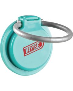 A mint green coloured plastic phone loop with a red logo with the silver coloured ring extended into the open position