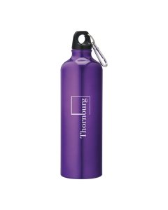 26oz blue almuminum bottle with black lid a silver carabiner and a grey logo