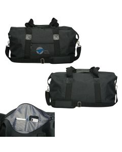 Three images of 22inch duffle bag showing both sides and a close up of the pocket with grey and blue logo