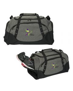 Two images of heathered grey with black accents 18 inch sport bag with full colour logo