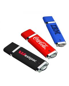 three square USB drives with full colour prints