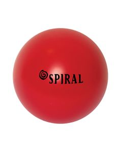 A red round stress ball with a black logo