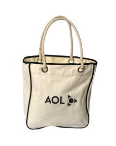 natural rope tote with black logo and black trim