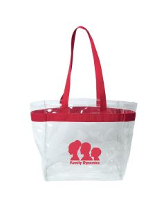 clear and red vinyl tote with red logo