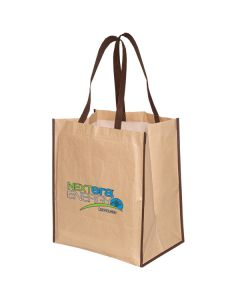 laminated paper tote bag with brown trim and handles and full colour logo