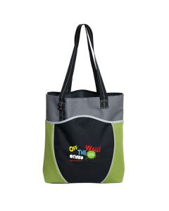 lime green and black polyester tote with full colour logo