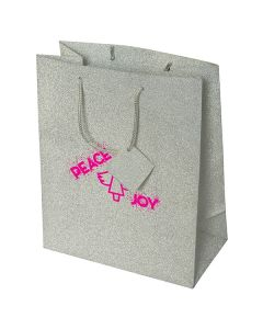 large silver coloured paper tote with pink logo