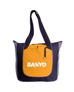 golden black and grey polyester tote with white logo
