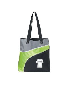 lime green and black tote with white logo