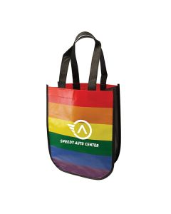 rainbow recycled fashion tote with white logo
