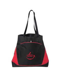 red and black tote with red logo