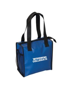 royal blue lunch bag with white logo