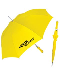 A yellow umbrella in the open position with a black logo next to a yellow umbrella in the closed position