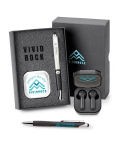 ailver ear bud box with a full colour logo and a silver and black pen in an open grey gift box next to a black open earbud storage case with earbuds inside it above a black and silver pen with a teal logo and the gift box lid half hidden in the background