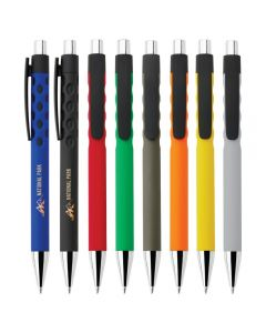 8 black ballpoint pens with different coloured rubberised grips and two turned to the side to show yellow and gold logo