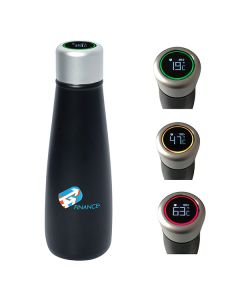 400mL black bottle with silver lid and full colour logo next to three images of different accented silver lids showing different temperatures