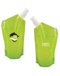 two images of a 591 translucent lime green folding water bag showing front and back with a white and black logo on one side and a white logo on the other