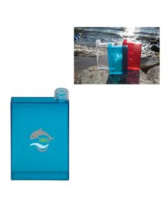 500mL royal blue translucent rectangle shaped water flask with full colour logo and lifestyle image in the top right corner