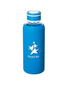 520mL royal blue and clear glass borosilicate water bottle with white llogo