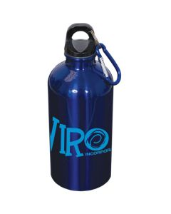 metallic royal blue stainless steel water bottle with carabiner and blue logo