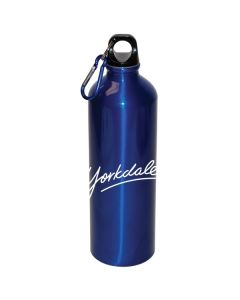 A royal blue 25oz aluminum water bottle with matching carabiner and a white logo
