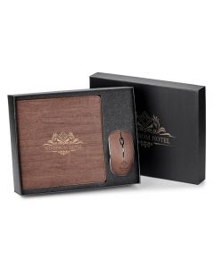 brown computer mouse gift set with printed logo in open gift box with lid half hidden behind it
