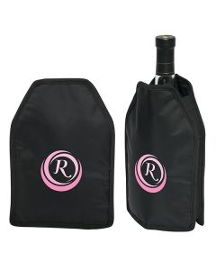 two images of black wine cloak bottle sleeves with full colour logos one with wine bottle inside