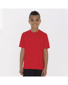 A true red coloured polyester T-shirt with a round neck being worn by a youth with his arms at his sides