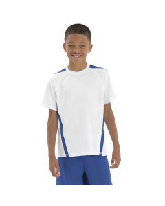 A white polyester home & away youth jersey with true royal accents being worn by a short haired boy with his arms by his sides