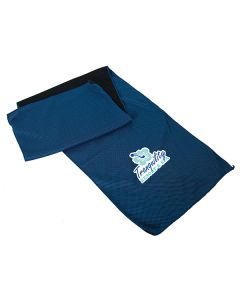 royal blue cooling towel slightly folded with full colour logo
