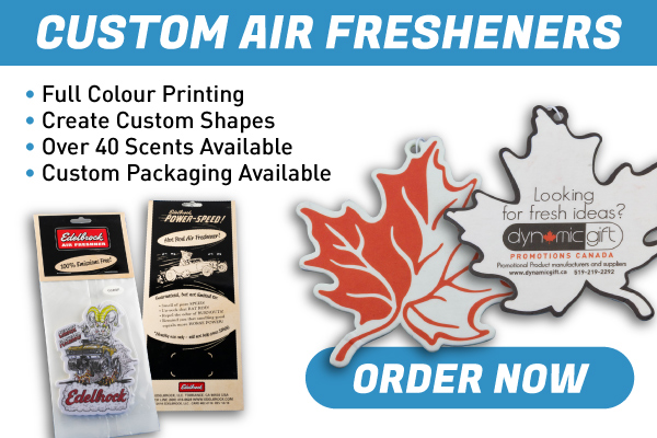 Custom Air Fresheners - Promote your business with limitless creative potential! Custom shapes, full colour printing, and 40+ scents to choose from!